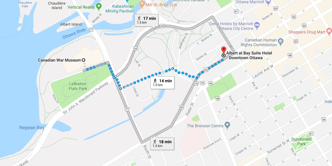 Directions from Albert at Bay Suite Hotel to Bluesfest